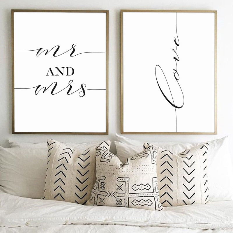 Famous CS Lewis Quote Love Wall Art Fine Art Canvas Prints Black White Typographic Minimalist MR & MRS Posters For Living Room Bedroom Home Interior Decor