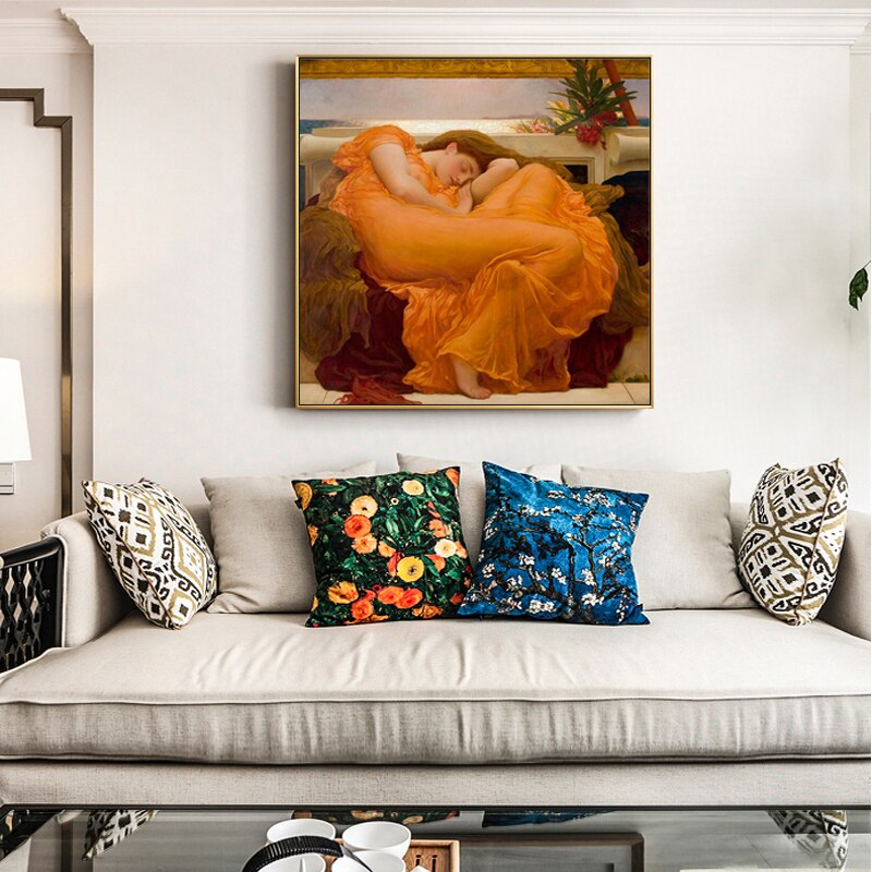 Famous Painting Flaming June by Frederic Leighton Classic Wall Art Fine Art Canvas Prints Classic Pictures For Living Room Dining Room Bedroom Home Decor