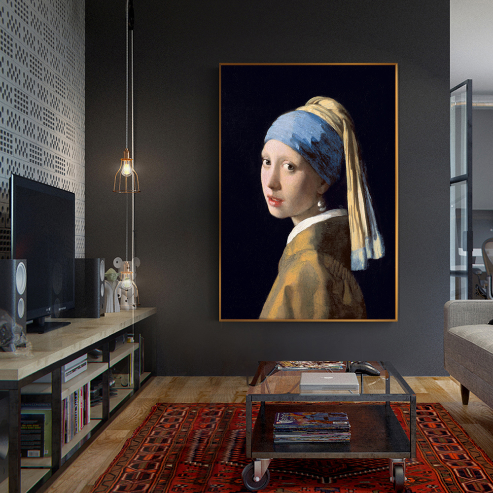Famous Painting Girl With a Pearl Earring by Jan Vermeer, Dutch Golden Age Oil Painting Fine Art Canvas Print Posters For Home Decor