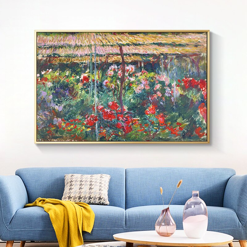 Famous Painting Peony Garden Claude Monet Impressionist Wall Art Fine Art Canvas Prints Classic Pictures ForLiving Room Dining Room Wall Art Decor