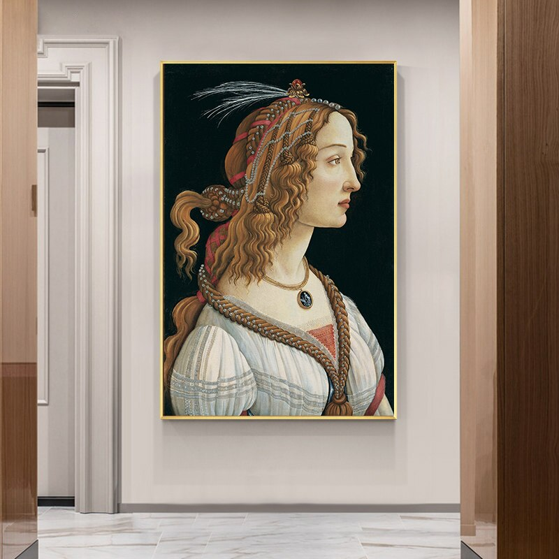 Famous Painting Portrait of a Young Woman by Sandro Botticelli Altered Vintage Wall Art Fine Art Canvas Prints For Living Room Wall Decor