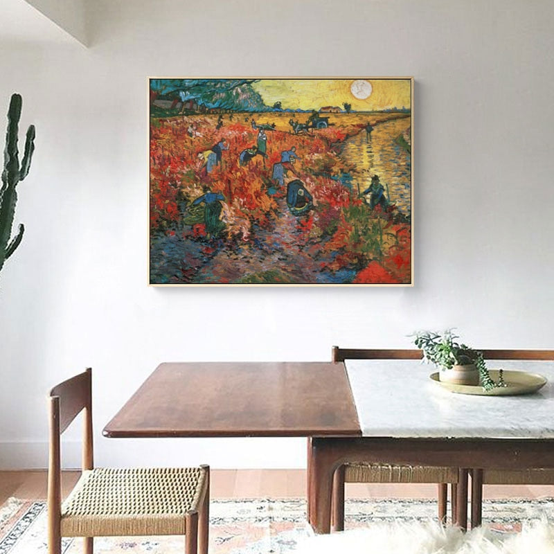 Famous Painting Van Gogh Red Vineyards in Arles Post Impressionist Wall Art Fine Art Canvas Prints Classic Pictures For Living Room Dining Room Decor
