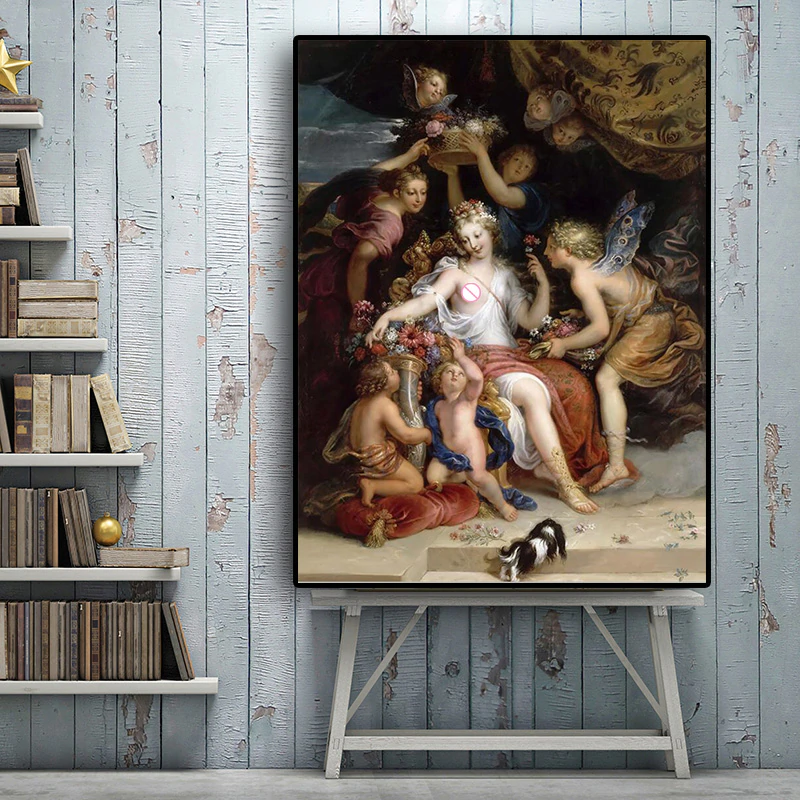 Famous Painting Zephyr And Flora by Michel Corneille the Younger Classic Oil Painting Fine Art Canvas Print For Living Room Bedroom Decor
