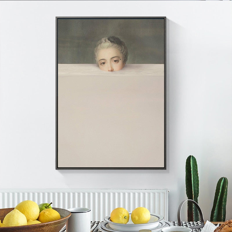 Famous Paintings Altered Abstract Wall Art Fine Art Canvas Prints  Surreal Vintage Vogue Portrait Gallery Wall Pictures For Living Room Retro Wall Art Decor