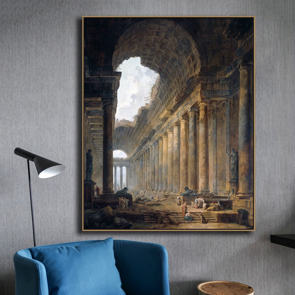 Famous Paintings Gallerie Ruins Hubert Robert Fine Art Canvas Prints Classical Romanticism Landscape Pictures For Living Room Dining Room Wall Art Decor