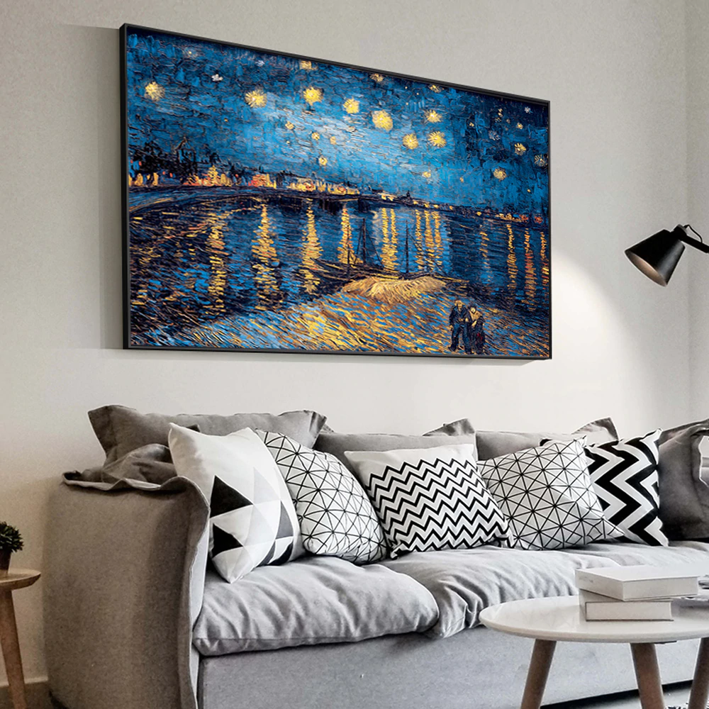 Famous Paintings Reproduction Van Gogh Starry Night Over The Rhone Post-Impressionist Fine Art Canvas Print For Living Room Wall Decor