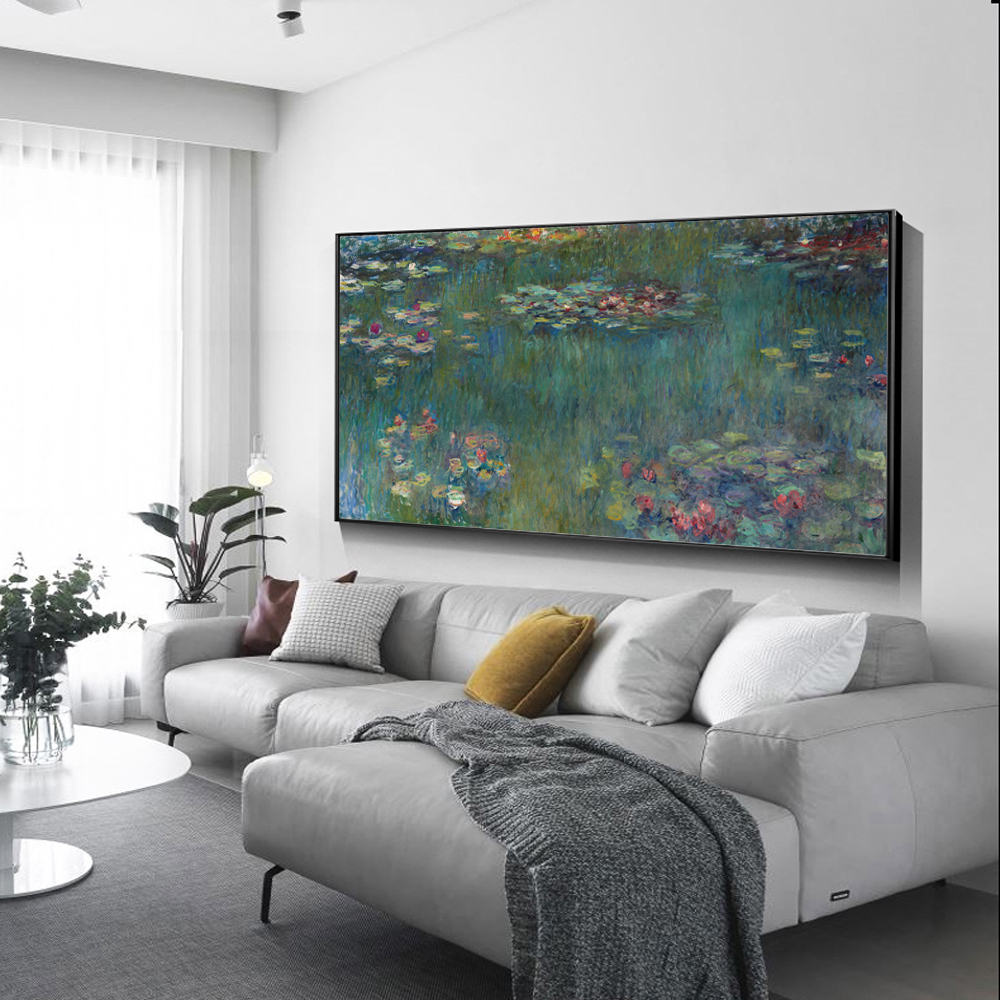 Famous Paintings Reproductions Claud Monet Water Lilies Fine Art Canvas Print Classic Colorful Impressionism Floral Garden Landscape Art Decor