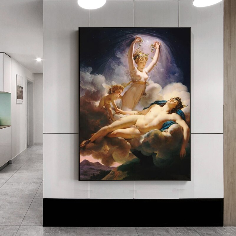 Famous Paintings Wall Art Aurora and Cephalus by François Boucher Fine Art Canvas Prints Classical Pictures For Stylish Living Room Dining Room Wall Art Decor