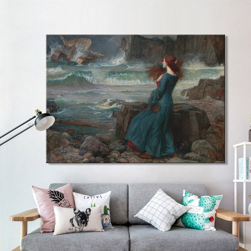 Famous Paintings Wall Art Miranda The Tempest By John William Waterhouse Fine Art Canvas Prints Classical Pictures For Living Room Dining Room Wall Art Decor