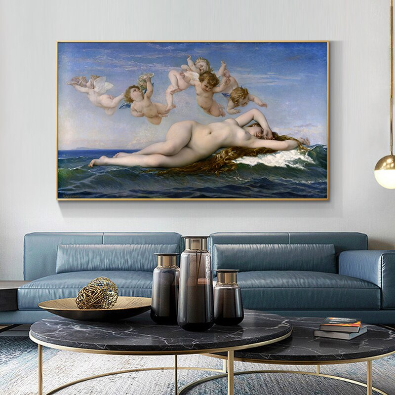 Famous Paintings Wall Art The Birth of Venus By Alexandre Cabanel Fine Art Raw Canvas Prints Classical Pictures For Living Room Dining Room Wall Art Decor