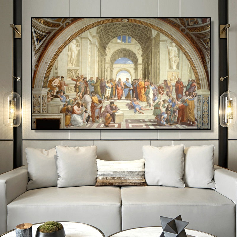 Famous Renaissance Painting Art School Of Athens by Raphael Fine Art Canvas Print Classic Wall Art Picture For Living Room Bedroom Contemporary Home Decor