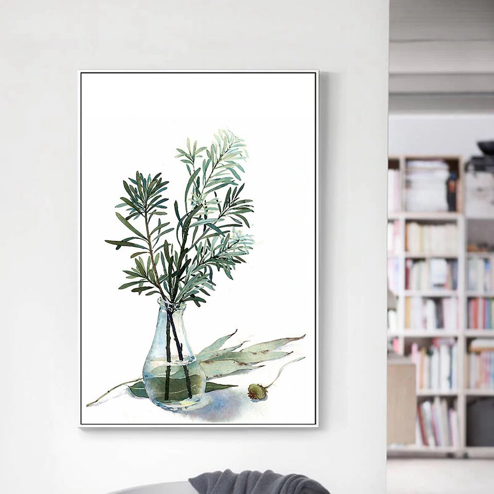 Farmhouse Kitchen Greenery Wall Art Simple Herbs In Glass Vases Fine Art Canvas Prints Nordic Style Minimalist Botany Pictures For Kitchen Home Wall Art Decor