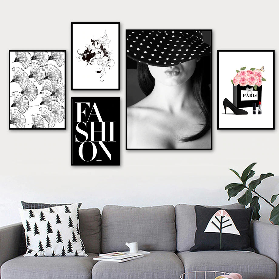 Fashion Girl Gallery Wall Art Pink Peonies Paris Nordic Style Minimalist Black White Posters For Living Room Bedroom Glam Home Interior Decor