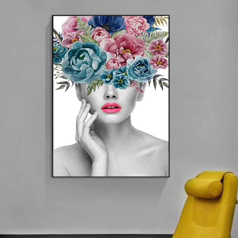 Fashionable Flowers Portrait Figure Art Beauty Fashion Posters Fine Art Canvas Prints Salon Wall Art Paintings For Modern Boutique Home Decor