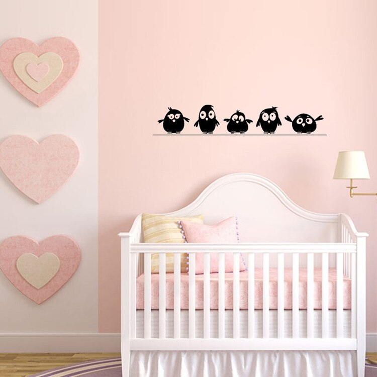 Five Cute Birds On A Wire Wall Art Mural Removable PVC Wall Birds Decal For Kitchen Window Or Wall Decoration Wall Stickers For Kids Bedroom