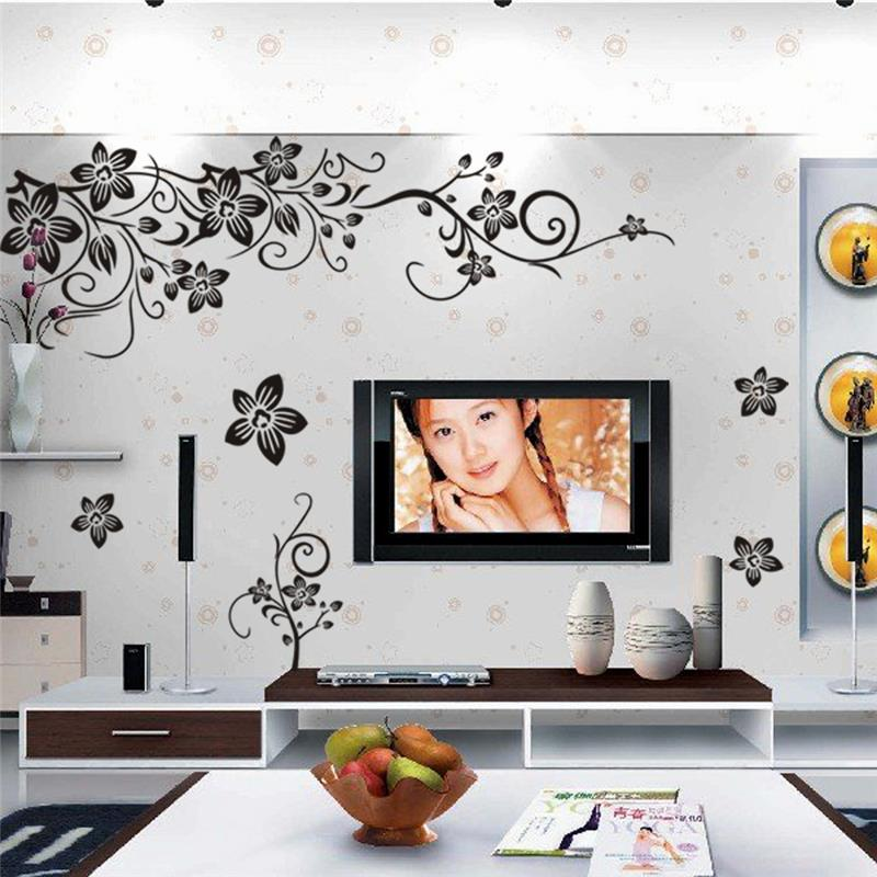 Floral Vines Wall Decal Elegant Flowers Pattern Removable Wall Art Decal PVC Wall Sticker For Modern Dining Room Living Room Wall Art Decor