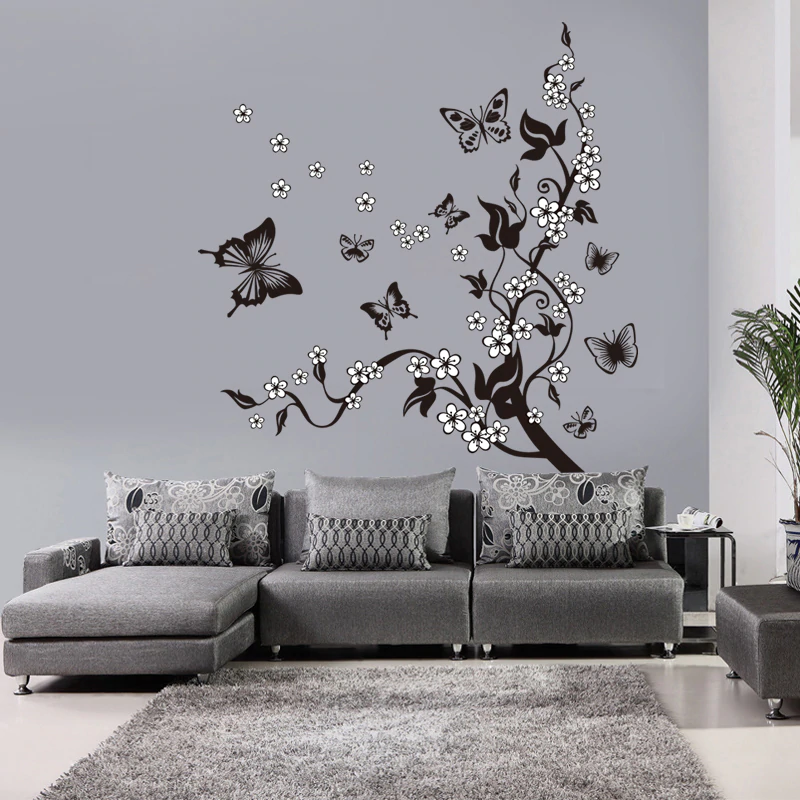 Flowers And Butterflies In Tree Floral Branch Wall Mural Removable PVC Wall Art Decal For Bedroom Living Room Children's Playroom Wall Decor