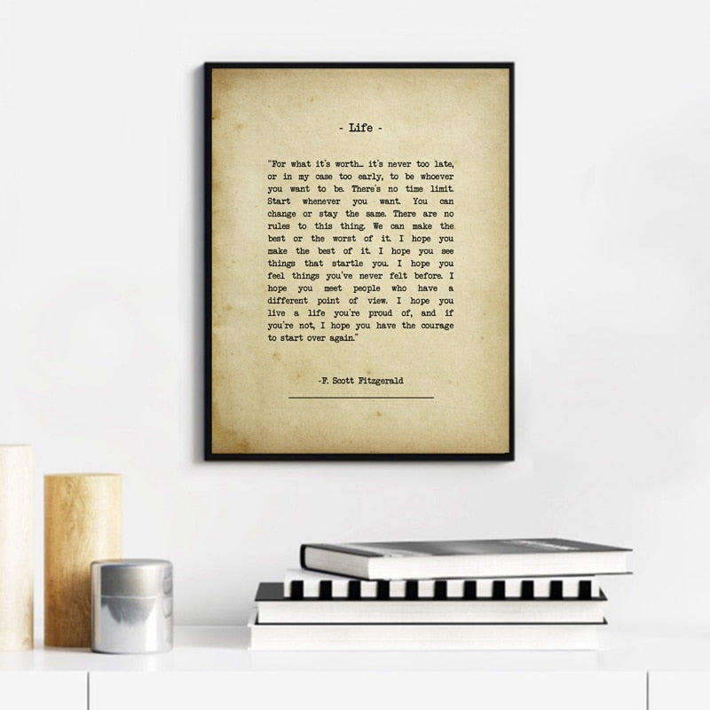 For What It's Worth Quote F Scott Fitzgerald Typewritten Note Quotations Wall Art Fine Art Canvas Print Minimalist Literary Art Posters For Simple Home Decor