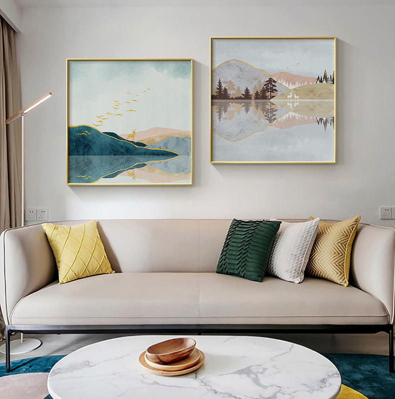 Four Seasons Nordic Abstract Landscape Wall Art Fine Art Canvas Prints Modern Pictures For Living Room Bedroom Home Office Scandinavian Interior Decor