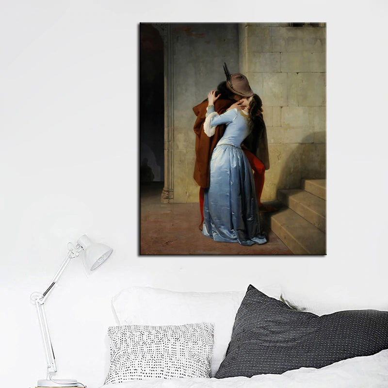 Francesco Hayez, The Kiss (Il Bacio) Poster Fine Art Canvas Print Wall Art Poster Famous Italian Romanticism Paintings For Modern Home Decor