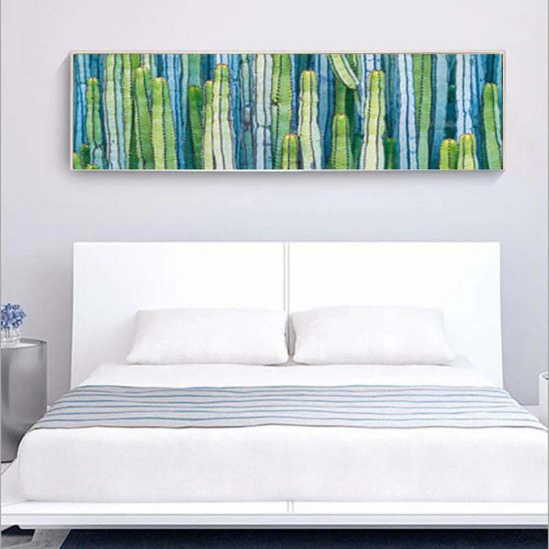 Fresh Tropical Leaves Wide Format Floral Wall Art Fine Art Canvas Prints Green Leaves Pictures For Kitchen Living Room Modern Wall Art Decor