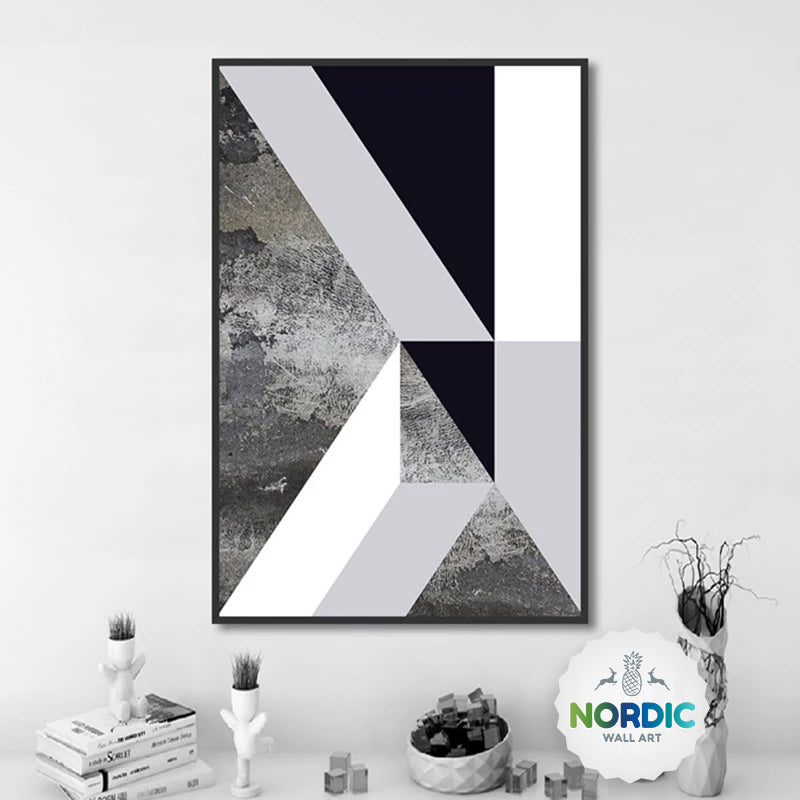 Geometric Asymmetric Marble Design Wall Art Decor Nordic Style Black & White Fine Art Canvas Prints For Modern Living Room Interior Decor