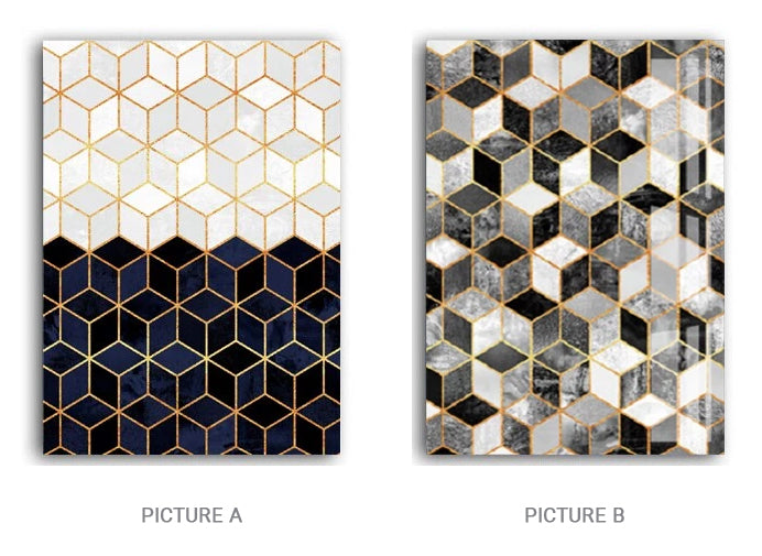 Geometric Cubic Marble Deco Abstract Wall Art Fine Art Canvas Prints Nordic Style Pictures For Modern Home Office Living Room Interior Decor