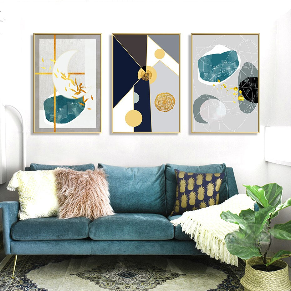 Geometric Elements Nordic Style Abstract Wall Art Fine Art Canvas Prints Minimalist Contemporary Pictures For Modern Home Interior Decor