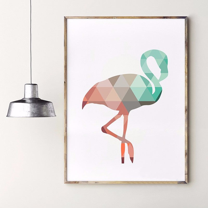 Geometric Flamingo Nordic Design Wall Art Poster Giclee Canvas Print Nursery Wall Art Coral and Jade Color Home Decor