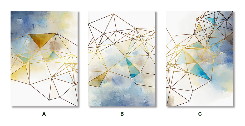 Geometric Gold Lines Abstract Wall Art Nordic Style Blue Green Fine Art Canvas Prints Modern Pictures For Living Room Bedroom Home Office Decor