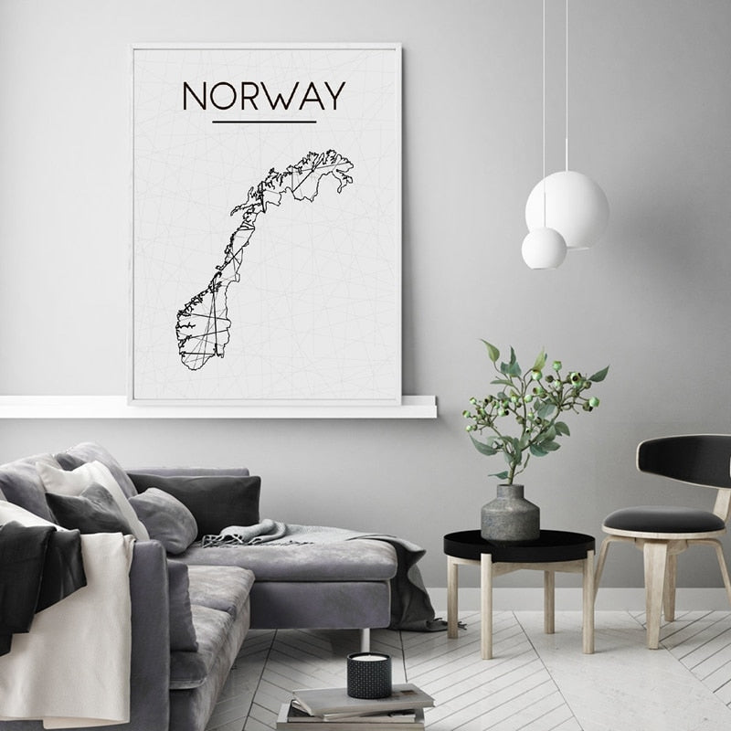 Geometric Map Of Norway Wall Art Black And White Fine Art Canvas Print Minimalist Nordic Poster For Living Room Home Office Scandinavian Home Decor