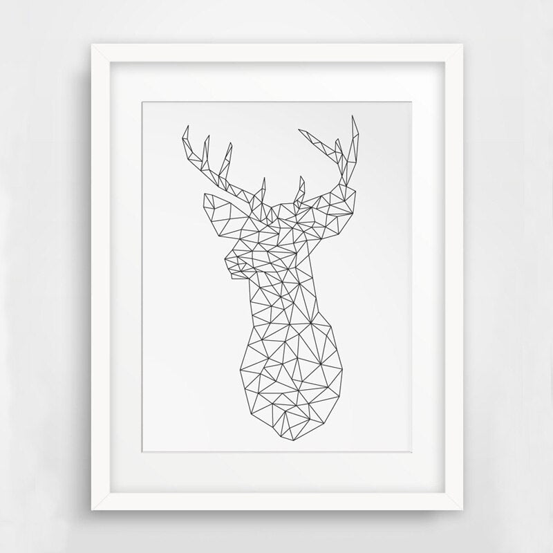 Geometric Minimalist Origami Deer Head Nordic Wall Art Canvas Animal Poster Prints Pictures for Modern Room Home Decor