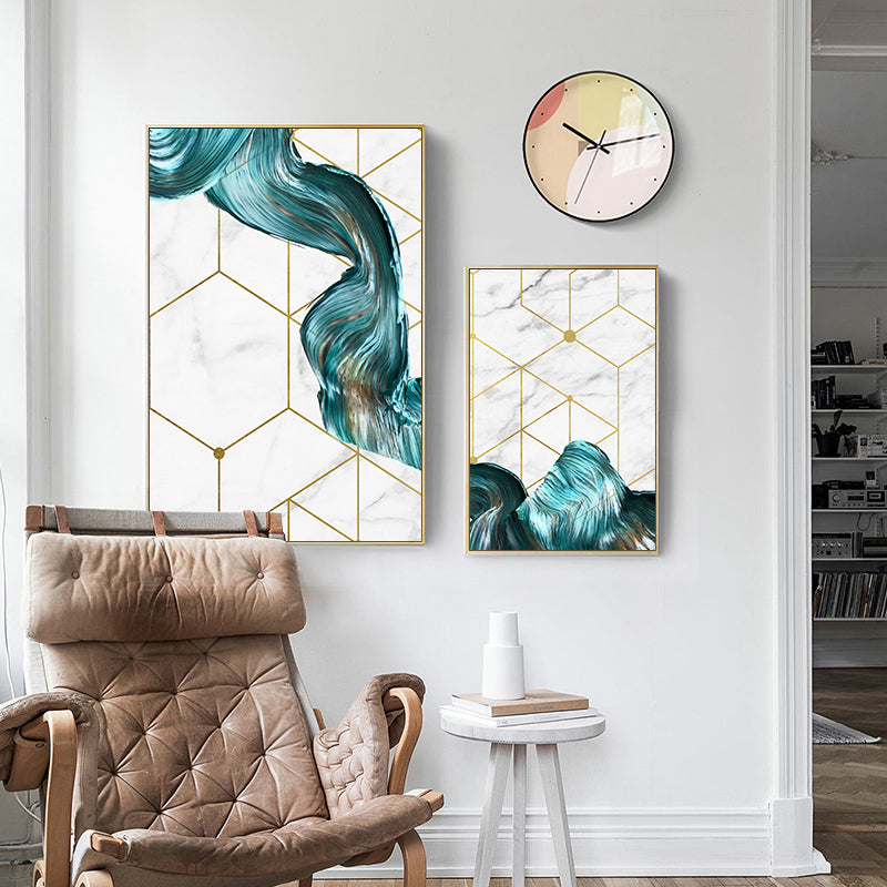 Geometric Swirls Luxury Nordic Wall Art Modern Golden Geometry Marble Paint Splash Fine Art Canvas Prints For Stylish Home Office Interior Decor