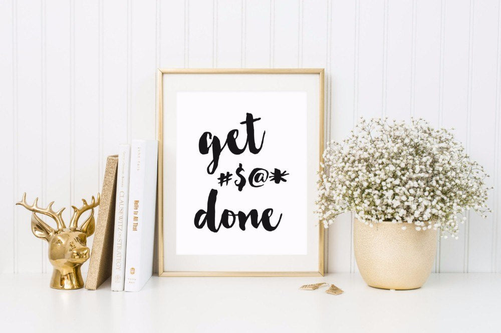 Get Done Motivational Quote Wall Art For Kids and Students Minimalist Canvas Poster Word Art Decor For Kids Bedroom Students Room
