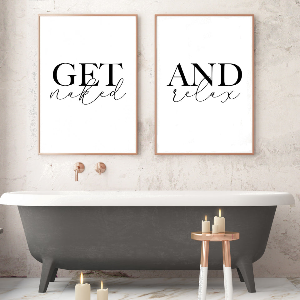 Get Naked And Relax Posters Bathroom Wall Art Fine Art Canvas Prints Minimalist Nordic Style Toilet Life Pictures For The Bathroom Bedroom Wall Art Decor