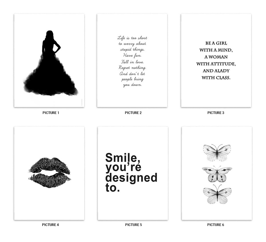 Girl In Black Dress Silhouette Smile Quotation Lips Poster Wall Art Black & White Fine Art Canvas Prints For Living Room Bedroom Home Decor