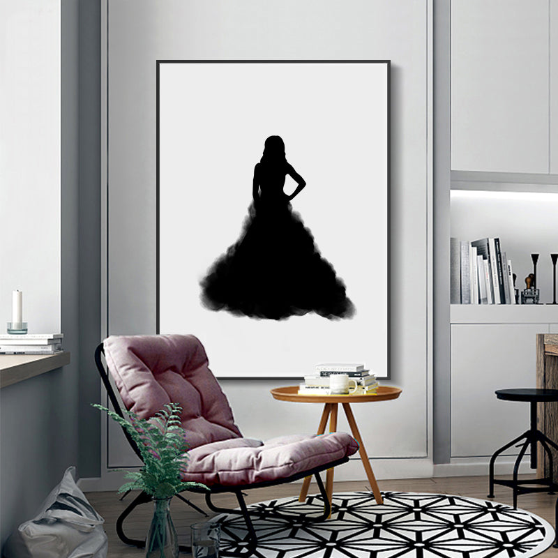 Girl In Black Dress Silhouette Smile Quotation Lips Poster Wall Art Nordic Minimalist Fine Art Canvas Prints For Living Room Bedroom Home Decor