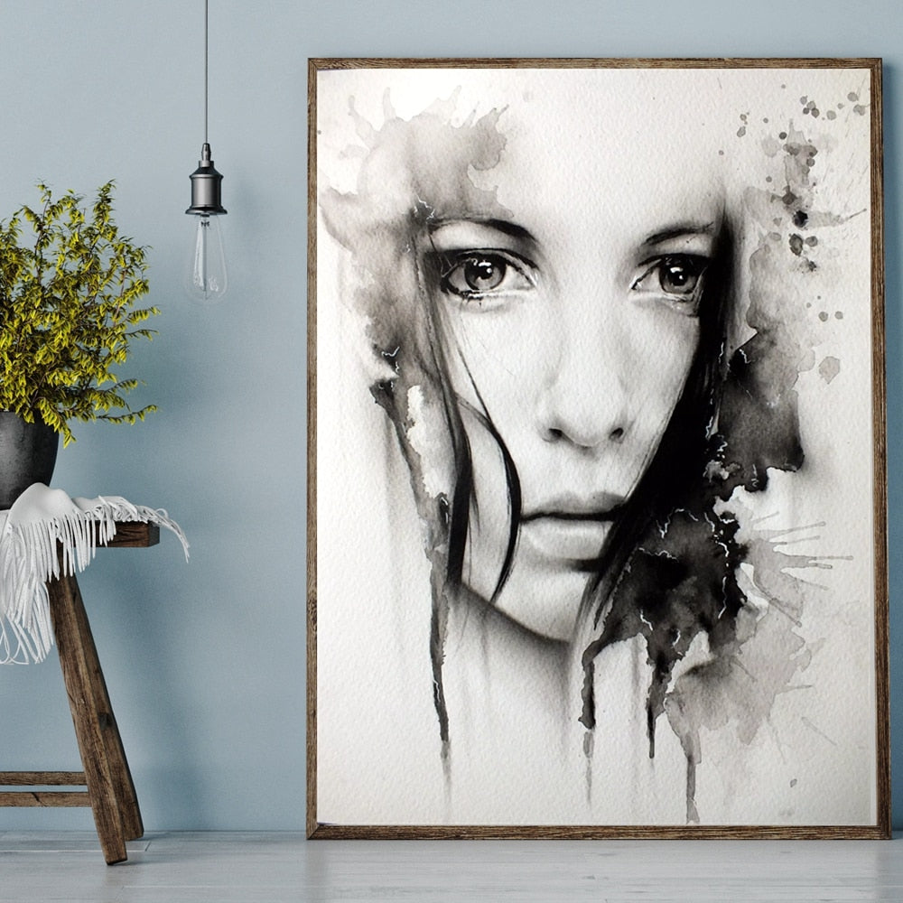 Girl With Beautiful Eyes Black & White Fine Art Canvas Prints Nordic Wall Art Pictures For Living Room Bedroom Poster Art For Stylish Interiors