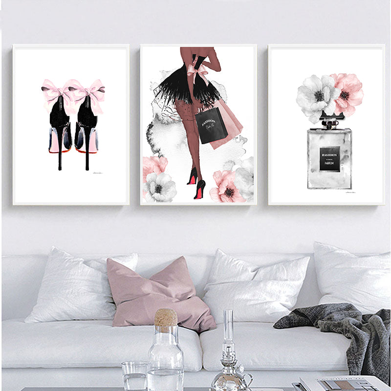Glamour Fashion Lipstick & Heels Wall Art Fine Art Canvas Prints Modern Beauty Posters Salon Art Pictures For Living Room Bedroom Glam Home Decor