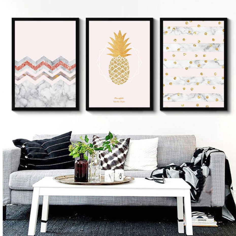 Glitter Gold Pink Princess Pineapple Posters Abstract Nordic Wall