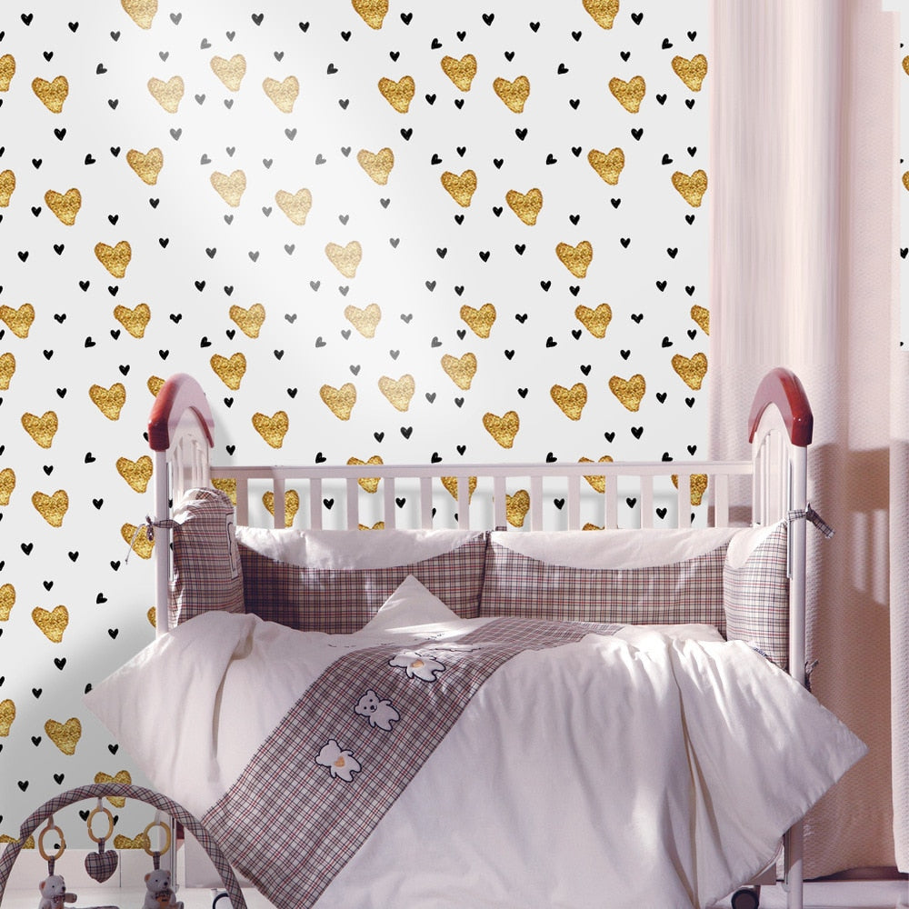 Gold Hearts Vinyl Wall Mural Self Adhesive PVC Wallpaper Peel & Stick Covering For Walls Furniture Cabinets Surfaces Creative DIY For Kids Room Nursery Decoration