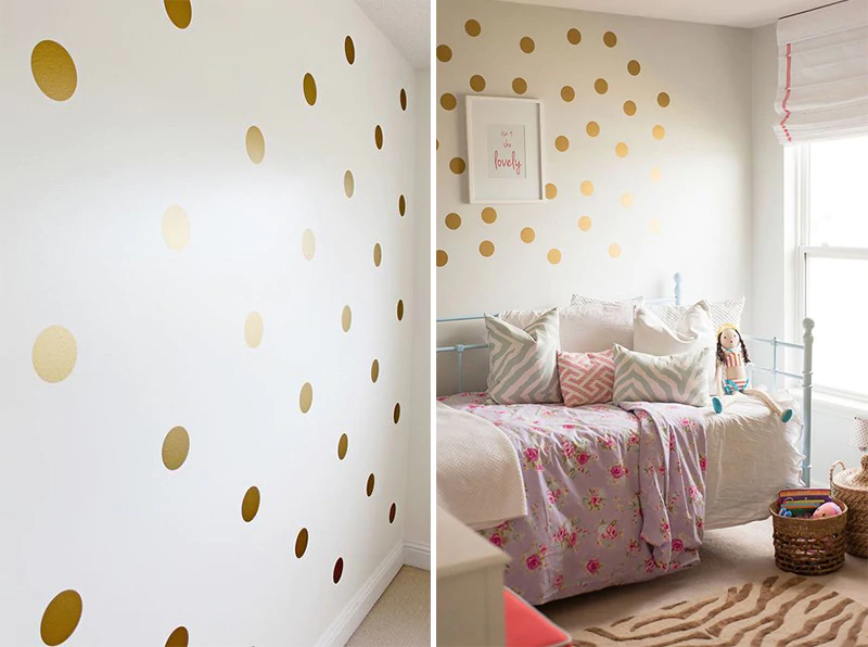 Gold Polka Dots Nursery Wall Decals Colorful Removable Sticky Dots Stickers For Decorating Kids Bedroom Wall DIY Nordic Style Decor