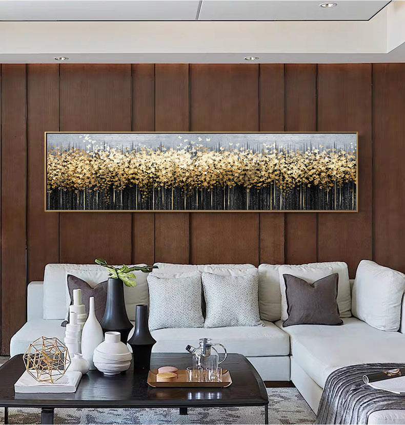 Golden Butterfly Swarm Luxury Abstract Wall Art Wide Format Fine Art Canvas Print Stylish Picture For Bedroom Living Room Home Office Interiors Art Decor
