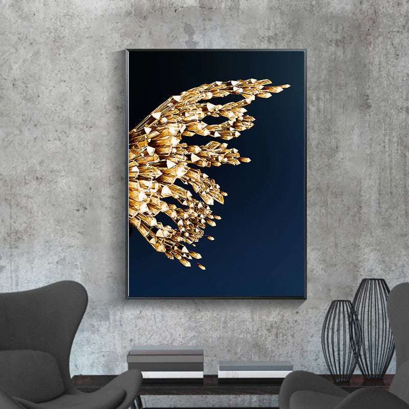 Golden Butterfly Wings Boutique Abstract Wall Art Fine Art Canvas Prints Modern Pictures For Luxury Living Room Bedroom Stylish Glamour Home Decor