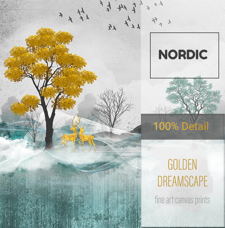 Auspicious Golden Deer Mountain Landscape Abstract Nordic Wall Art Fine Art Canvas Prints Modern Pictures For Living Room Contemporary Office Home Interior Decor