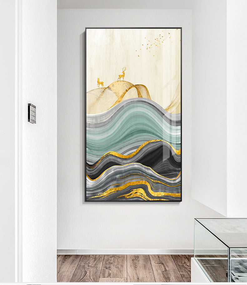 Golden Deer Mountain Landscape Abstract Nordic Wall Art Fine Art Canvas Prints Modern Pictures For Living Room Contemporary Office Home Interior Wall Art Decor