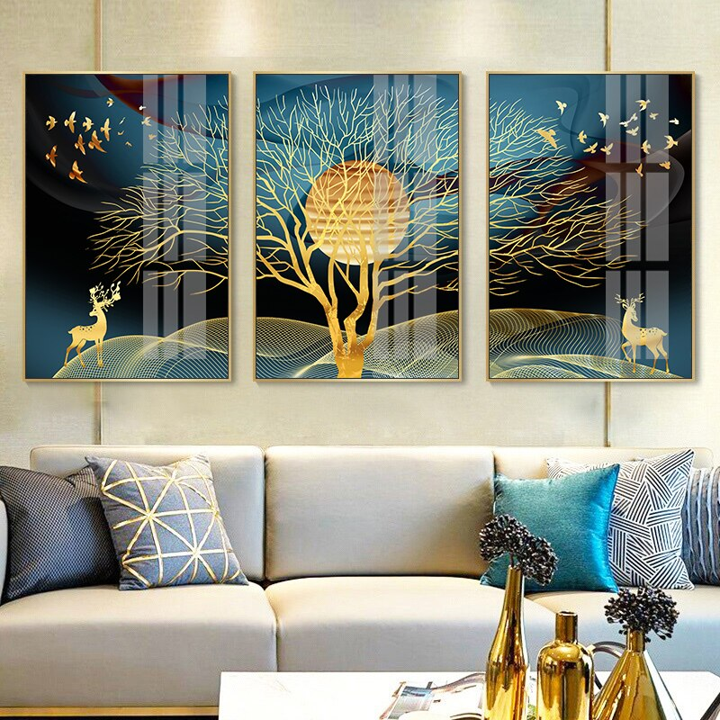 Golden Dream Landscape Luxury Wall Art Fine Art Canvas Prints Modern Nordic Style Wall Decor For Loft Apartment Hotel Decor Contemporary Home Interior Design