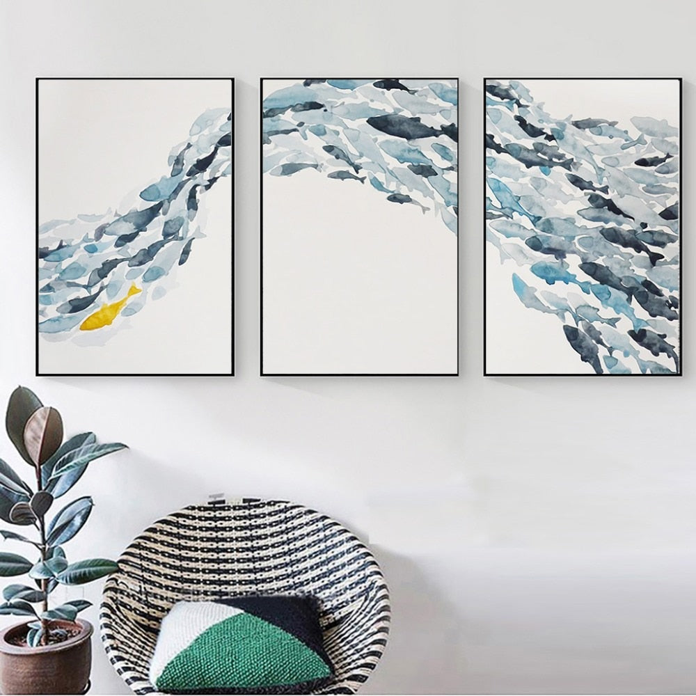Golden Fish In The Shoal Abstract Wall Art Fine Art Canvas Prints Minimalist Nordic Style Blue White Golden Aquatic Posters For Living Room Interior Decor