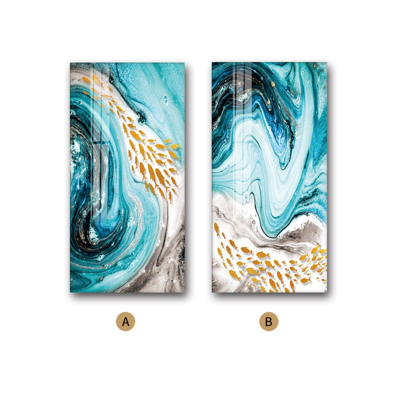 Golden Fishes In Blue Sea Swirls Abstract Wall Art Fine Art Canvas Prints Nordic Style Marble Effect Giclee Prints For Modern Home Office Interior Decor