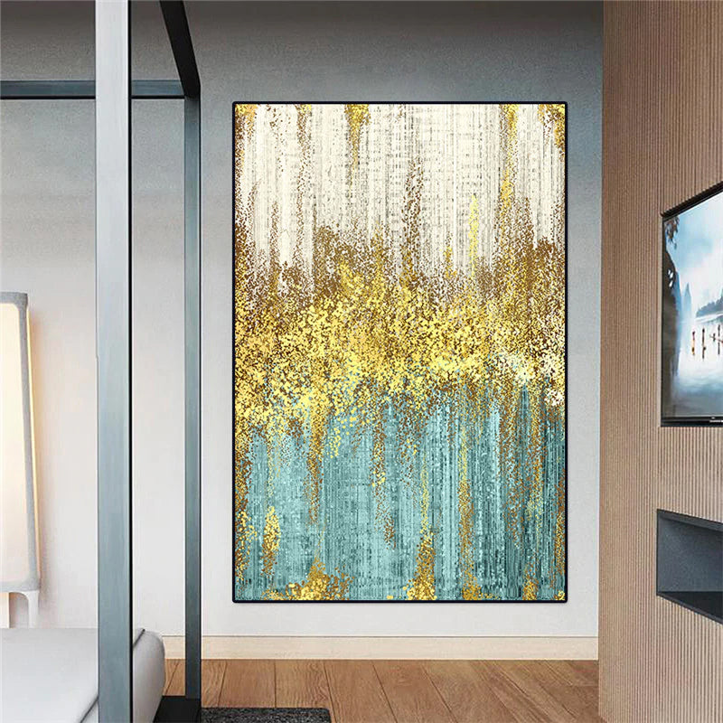 Golden Jade Green Modern Abstract Wall Art Fine Art Canvas Prints Vertical Portrait Format Picture For Living Room Hotel Bedroom Contemporary Office Interior Decor